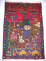 Small Soviet Hand Afghan War Rug with English Text