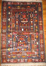 S-Shaped Street Pictorial Afghan War Rug - Prayer Rug