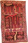 Pictorial 3 panel black Afghan War Rug