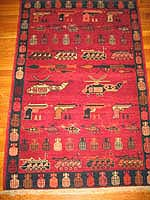 Vegetal Dye Peshawar w/Hand Guns being Fired War Rug