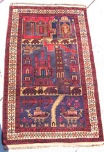 Pictorial 3 panel blue  Afghan War Rug