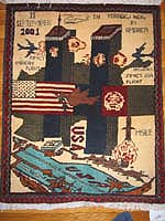 World Trade Center 9/11 War Rug w/ Turquoise Aircraft Carrier