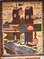 World Trade Center 9/11 War Rug w/ Neon Planes
