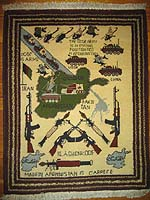 Soviet Story Afghan War Rug with Three Maps of Afghanistan