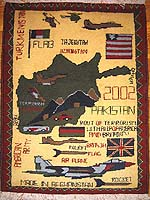 Scattered Flags, Route of Terrorism Tora Bora Style Afghan War Rug