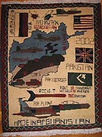 Scattered Flags - Route of Terrorism Afghan War Rug