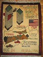 Abstracted World Trade Center Afghan War Rug with Yellow Map of Afghanistan