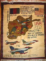 Scattered Flags Sub style of  F-16 Map Rug with Three F-16s in formation