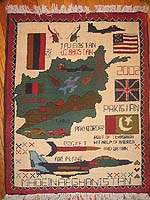 F-16 Afghan Map War Rug with Scattered Flags and Three Hearts in Corner