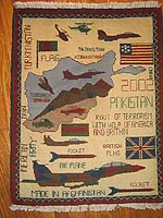 Afghan War Rug with Scattered Flags and Tora Bora Map in light colors saying -Route of Terrorishm -