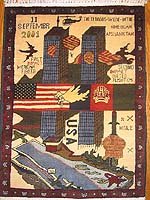 September 11, World Trade Center Afghan  War Rug - Grey and Ochre Towers