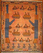 Small Washed Red Rug with Six Grenades on Bottom Row Afghan War Rug