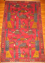 Red Pakistan War Rug with Hand Guns