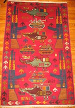 Red Afghan War Rug with Green Helicopters