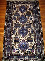 White Baluchi Afghan War Rug with Blue Medallions, Tanks, Trucks and Animals
