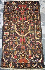 Floral Medallion with Checkered colors Zakini Baluch War Rug with Two Helicopters