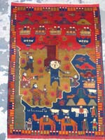 Soviet Hand Rug with Woman on the Bottom Leading Two Camels with Two Children on Each