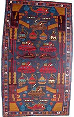 Blue Red Rug with Turquoise Grenades and Flower Border