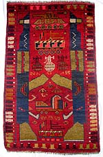 Small Red War Rug with Anti-aircraft Truck Between Triggers of AK-47s