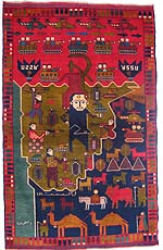 Soviet Hand Rug with Red Water Buffalo and Man Leading Two Camels