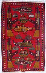 Red War Rug with Small Emerald Green Tanks