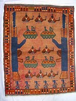 Washed Red Rug with Three Helicopters on Top and Six Grenades on Bottom