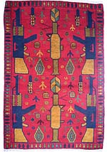 Red War Rug with Green and Tan RPG, Hand Grenades and Land Mines