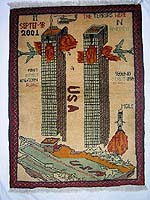 World Trade Center September 11, 2001 War Rug without PSYOPS Flag Banner