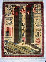 World Trade Center War Rug with Brown Towers and People Falling