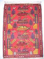 Red Rug with Six Large Blue Grenades War Rug