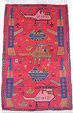 Red War Rug with Two Pink Helicopters