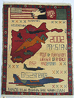 Big Plane Tora Bora War Rug with White Dove Flag Banner