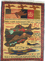 Three Fighter Jet War Rug with Tora Bora and Flag Banner PSYOP Motifs
