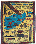 Cerulean Blue Map Soviet Exodus Yellow Map War Rug