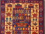 Gold Border, Bright Colors, Burkas  Afghan War Rug