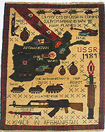 Four Helicopter on Top Row Soviet Exodus Yellow Map War Rug