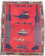 Full Army Vegetal Dye Red Afghan War Rug