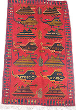 Two Rows of Tanks and Helicopters without Kalashnikovs Red Afghan War Rug