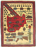 Beautiful Soviet Exodus Yellow Map Afghan War Rug