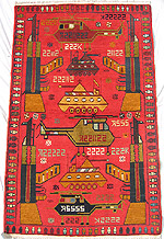 Green Truck Red Afghan War Rug