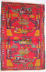Four Helicopter and Six Small Tank Red  War Rug