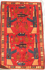 Red War Rug with Grenades