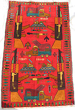 Beautiful Bright Color Red War Rug