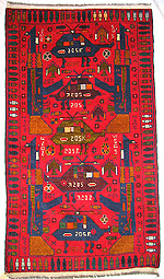 Densely Decorate Field Red War Rug