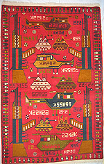 Red War Rug with White Bullets in Aks