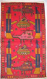 Red War Rug with Three Helicopters and Two APCs