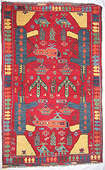 Red War Rug with Kalashnikovs Pointed at Each Other