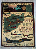 Bright Blue Tora Bora War Rug with US / Afghan Flag Banner