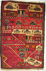 Red and Blue Tank and Helicopters War Rug
