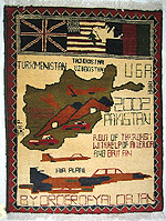Brown Airplane Tora Bora War Rug with Three Flag Banner
